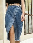 Χαμηλού Κόστους Γυναικείες Φούστες-Γυναικεία Εφαρμοστό Φούστες - Μονόχρωμο Θαλασσί Τ M L