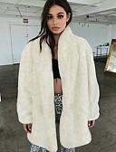 olcso Női szőrme és műszőrme kabátok-Női Napi Tél Szokványos Faux Fur Coat, Egyszínű V-alakú Hosszú ujj Műszőrme Bézs
