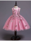 Χαμηλού Κόστους Λουλουδάτα φορέματα για κορίτσια-Πριγκίπισσα Μέχρι το γόνατο Φόρεμα για Κοριτσάκι Λουλουδιών - POLY / Πολυεστέρας / Βαμβάκι / Τούλι Αμάνικο Με Κόσμημα με Σχέδιο Πεταλούδα / Διακοσμητικά Επιράμματα / Κέντημα