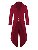 billiga Wraps & halsdukar för kvinnor-Herr Dagligen Normal Trenchcoat, Enfärgad Nedvikt Långärmad Polyester Svart / Purpur / Rubinrött