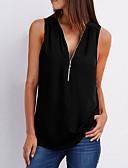Χαμηλού Κόστους T-shirt-Γυναικεία Αμάνικη Μπλούζα Μονόχρωμο Μαύρο