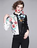 billige Bluser-Skjorte Dame - Blomstret, Lapper / Trykt mønster Vintage / Elegant Hvit