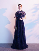 povoljno Maturalne haljine-A-kroj Ovalni izrez Do poda Čipka Formalna večer Haljina s Vez po LAN TING Express