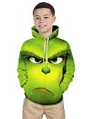 tanie Swetry i kardigany dla chłopców-Dzieci Brzdąc Dla chłopców Aktywny Podstawowy Fantastyczne zwierzęta Geometric Shape Nadruk Kolorowy blok Nadruk Długi rękaw Bluzy Zielony