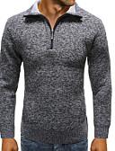 olcso Férfi pólók és kardigánok-Férfi Egyszínű Hosszú ujj EU / USA méret Pulóver Pulóver jumper, Térfogatcsökkenés Tavasz / Tél Bor / Világos szürke / Barna US32 / UK32 / EU40 / US34 / UK34 / EU42 / US36 / UK36 / EU44