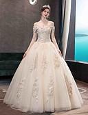 Χαμηλού Κόστους Βραδινά Φορέματα-Βραδινή τουαλέτα Ώμοι Έξω Μακρύ Τούλι Κοντομάνικο Φορέματα γάμου φτιαγμένα στο μέτρο με Διακοσμητικά Επιράμματα 2020