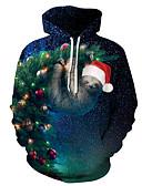 olcso Férfi pólók és pulóverek-Férfi Alap / Karácsony Kapucnis felsőrész Színes / 3D / Rajzfilm