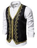 ราคาถูก เบลเซอร์ &สูทผู้ชาย-สำหรับผู้ชาย เสื้อกั๊ก, ลายบล็อคสี คอวี เส้นใยสังเคราะห์ สีดำ / ขาว / ทับทิม