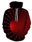 Χαμηλού Κόστους Αντρικές Μπλούζες με Κουκούλα & Φούτερ-Ανδρικά Κομψό στυλ street / Halloween Φούτερ με Κουκούλα - Γεωμετρικό / Συνδυασμός Χρωμάτων / 3D