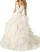 Χαμηλού Κόστους Νυφικά-Γραμμή Α Λαιμόκοψη V Ουρά Πολυεστέρας Κανονικοί ιμάντες Γοητευτικός Εξώπλατο Φορέματα γάμου φτιαγμένα στο μέτρο με Ζωνάρια / Κορδέλες / Με διαδοχικές σούρες 2020