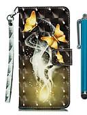 baratos Acessórios para Samsung-Capinha para samsung galaxy a80 (2019) / a10 (2019) / a30 (2019) carteira / porta-cartão / com suporte capa proteção completa duas borboletas douradas couro pu para a20e / a40 (2019) / a50 (2019) /