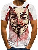 baratos Moda Íntima Exótica para Homens-Homens Camiseta Moda de Rua Pregueado / Estampado, Estampa Colorida / 3D / Retrato Vinho