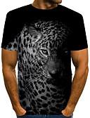 povoljno Muške majice i potkošulje-Majica s rukavima Muškarci - Vintage / Rock Dnevno / Praznik Leopard / 3D / Životinja Print Crno i sivo Crn
