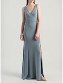 Χαμηλού Κόστους Φορέματα Παρανύμφων-Ίσια Γραμμή Βυθίζοντας το λαιμό Μακρύ Ζέρσεϊ Φόρεμα Παρανύμφων με Με Άνοιγμα Μπροστά