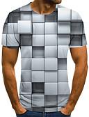 Χαμηλού Κόστους Ανδρικά μπλουζάκια και φανελάκια-Ανδρικά T-shirt Κομψό στυλ street Γεωμετρικό / Συνδυασμός Χρωμάτων / 3D Πλισέ / Στάμπα Ασπρόμαυρο Γκρίζο