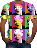 baratos Camisetas & Regatas Masculinas-Homens Camiseta Básico Retrato Arco-íris
