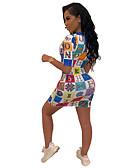 זול שמלות מיני-מעל הברך דפוס, גיאומטרי - שמלה צינור נדן בסיסי סגנון רחוב בגדי ריקוד נשים