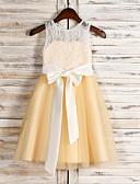 Χαμηλού Κόστους Βραδινά Φορέματα-Γραμμή Α Με Κόσμημα Μέχρι το γόνατο Δαντέλα / Τούλι Φόρεμα Νεαρών Παρανύμφων με Δαντέλα / Πρώτη Κοινωνία