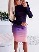abordables Chemisiers Femme-Femme Basique Mi-long Moulante Robe Bloc de Couleur Violet S L XL Manches Longues