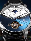 Χαμηλού Κόστους Πολυτελή Ρολόγια-FORSINING Ανδρικά μηχανικό ρολόι Αυτόματο κούρδισμα Επίσημο Στυλ Κομψό Συνθετικό δέρμα Μαύρο 30 m Ανθεκτικό στο Νερό Tourbillon Αναλογικό Πολυτέλεια - Μαύρο Μαύρο / Άσπρο Μαύρο / Μπλε