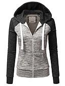 ราคาถูก เสื้อแจ็กเก็ตสำหรับผู้หญิง-สำหรับผู้หญิง ทุกวัน ฤดูใบไม้ร่วง & ฤดูหนาว ปกติ แจ๊คเก็ต, ลายบล็อคสี ฮู้ด แขนยาว เส้นใยสังเคราะห์ สีดำ / สีม่วง / สีน้ำเงิน