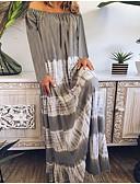 baratos Vestidos Longos-Mulheres Camiseta Vestido Listrado Longo