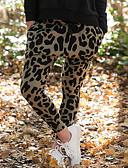 billige Blazere til damer-Dame Gatemote Chinos Bukser - Leopard Grønn S M L
