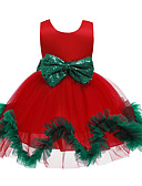 olcso Bébi ruházat-Gyerekek Kisgyermek Lány Aktív Édes Virágos Karácsony Kollázs Ujjatlan Térdig érő Ruha Rubin