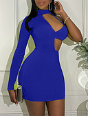 Χαμηλού Κόστους Μίνι Φορέματα-Γυναικεία Βασικό Εφαρμοστό Θήκη Φόρεμα - Μονόχρωμο Μίνι