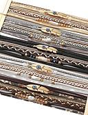 baratos Relógios de quartzo-Mulheres Bracelete Multi Camadas Bola Na moda Góticas Hippie Pérola Pulseira de jóias Preto / Branco / Café Para Presente Rua Promessa / Pele