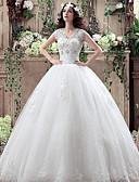 billiga Brudklänningar-A-linje / Balklänning V-hals Golvlång Polyester / Spets / Tyll Kortärmad Enkel Liten vit klänning Bröllopsklänningar tillverkade med Kristalldetaljer / Spets 2020