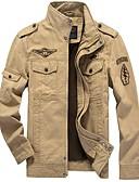 זול גברים-ג'קטים ומעילים-בגדי ריקוד גברים יומי סתיו חורף רגיל ג'קט, אחיד עומד שרוול ארוך פוליאסטר שחור / ירוק צבא / חאקי