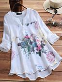 billige Bluser-Løstsittende V-hals Store størrelser Skjorte Dame - Blomstret, Trykt mønster Chinoiserie / Elegant Hvit