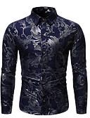 baratos Camisas Masculinas-Homens Camisa Social Rock / Exagerado Sólido / Floral / Gráfico Preto