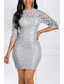 זול תחרה רומטנית-מיני תחרה, אחיד - שמלה צינור נדן רזה מידות גדולות אלגנטית בגדי ריקוד נשים