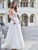 ราคาถูก Special Occasion Dresses-A-line V-Wire ชายกระโปรงลากพื้น Tulle หลังสวย ทางการ แต่งตัว กับ โดย LAN TING Express