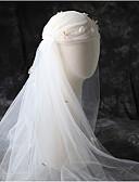 ราคาถูก ม่านสำหรับงานแต่งงาน-Two-tier รูปแบบสไตล์ยุโรป ผ้าคลุมหน้าชุดแต่งงาน Elbow Veils กับ ขอบ 53.15 นิ้ว (135ซม.) Tulle