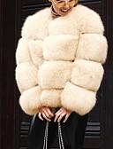 povoljno Ženske kaputi od kože i umjetne kože-Žene Dnevno Jesen zima Normalne dužine Faux Fur Coat, Jednobojni V izrez Dugih rukava Umjetno krzno Blushing Pink / Bež