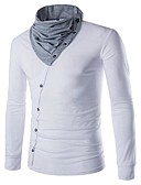 Χαμηλού Κόστους Ανδρικά μπουφάν και παλτό-Ανδρικά T-shirt Βασικό / Κομψό Μονόχρωμο Μαύρο