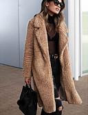 Χαμηλού Κόστους Women's Fur & Faux Fur Coats-Γυναικεία Καθημερινά Φθινόπωρο & Χειμώνας Κανονικό Faux Fur Coat, Μονόχρωμο Turndown Μακρυμάνικο Ψεύτικη Γούνα Μαύρο / Λευκό / Πράσινο Χακί
