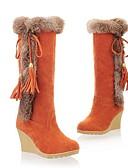 ราคาถูก ชุดว่ายน้ำบิกินี่และ-สำหรับผู้หญิง บูท รองเท้าบู้ทใส่สำหรับหิมะ รองเท้าส้นตึก ปลายกลม หนังนิ่ม บู้ทสูงระดับกลาง ฤดูใบไม้ร่วง & ฤดูหนาว สีดำ / สีน้ำตาล / ส้ม