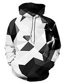olcso Férfi pólók és pulóverek-Férfi Alkalmi / Alap Kapucnis felsőrész Mértani / Nyomtatott / 3D