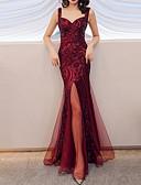 Χαμηλού Κόστους Βραδινά Φορέματα-Τρομπέτα / Γοργόνα Λεπτές Τιράντες Μακρύ Πολυεστέρας Ανοικτή Πλάτη Επίσημο Βραδινό Φόρεμα 2020 με Πούλιες / Με Άνοιγμα Μπροστά