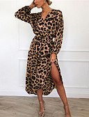 povoljno Ženske haljine-Žene Ulični šik Korice Haljina - Print, Leopard Midi Fantastične zvijeri