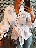 baratos Camisas Femininas-Mulheres Camisa Social Floral Branco