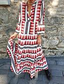 Χαμηλού Κόστους Μακριά Φορέματα-Γυναικεία Swing Φόρεμα - Συνδυασμός Χρωμάτων Μακρύ