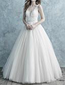 billiga Brudklänningar-A-linje V-hals Svepsläp Spets / Tyll Smala axelband Formella Öppen rygg Bröllopsklänningar tillverkade med Spets 2020
