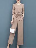 ราคาถูก จั๊มสูทและเสื้อคลุมสำหรับผู้หญิง-สำหรับผู้หญิง Street Chic ชุด - สีพื้น กางเกง