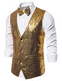 billige T-skjorter og singleter til herrer-Herre سترة, Ensfarget V-hals Polyester Svart / Vin / Lilla