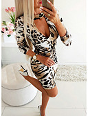baratos Vestidos de Festa-Mulheres Básico Bainha Vestido - Estampado, Leopardo Altura dos Joelhos